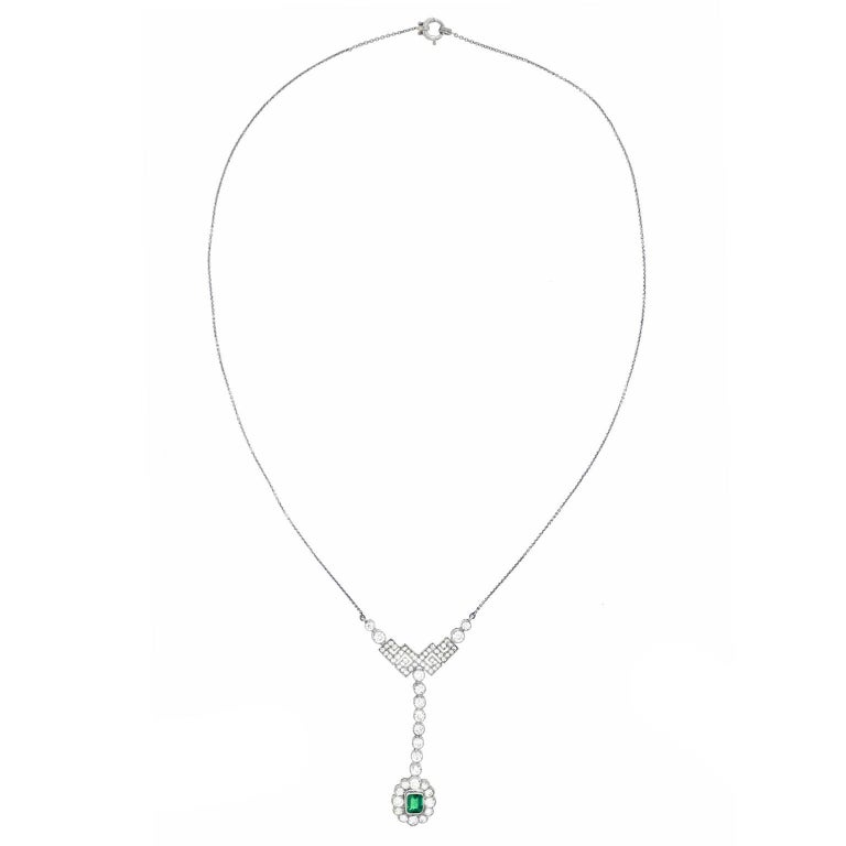 Art Deco Diamond and Emerald Set Gold Necklace 3