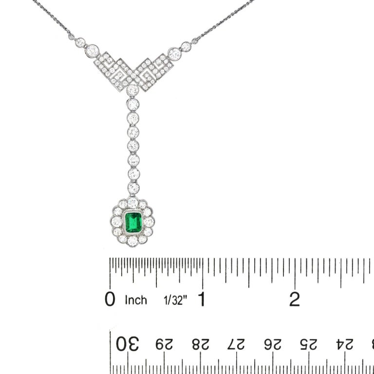 Art Deco Diamond and Emerald Set Gold Necklace 6