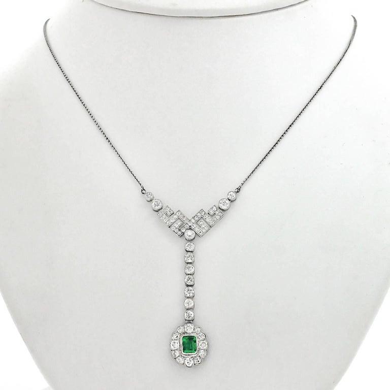 Art Deco Diamond and Emerald Set Gold Necklace 7