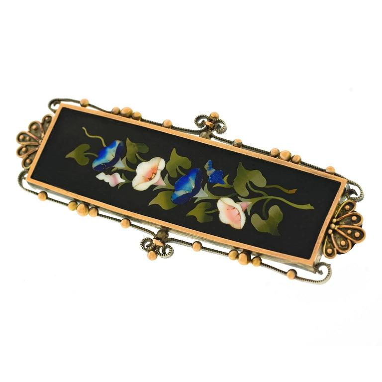 1880s Antique Pietra Dura Silver and Gold Brooch 3