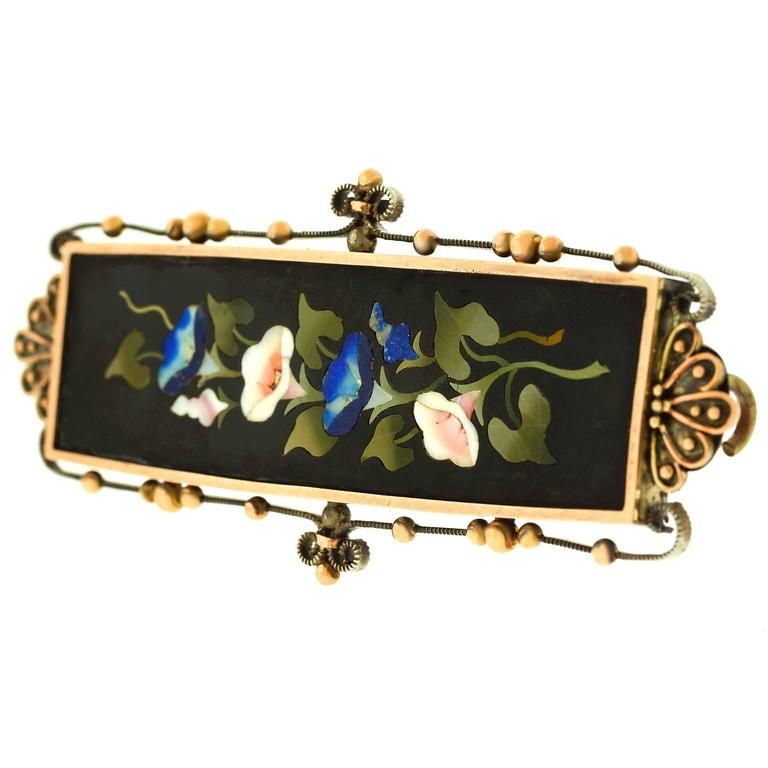 1880s Antique Pietra Dura Silver and Gold Brooch 4