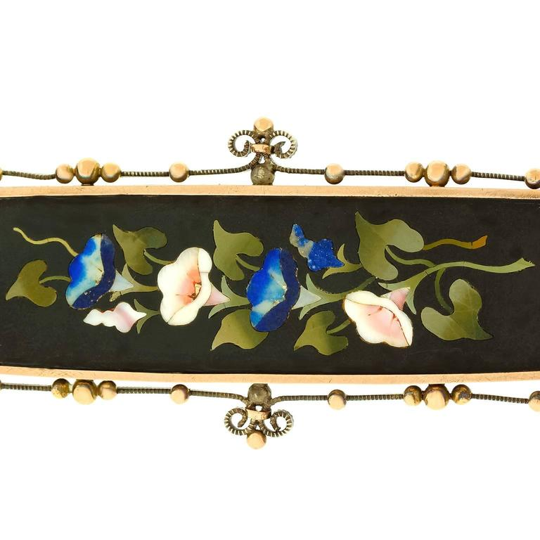 1880s Antique Pietra Dura Silver and Gold Brooch 7