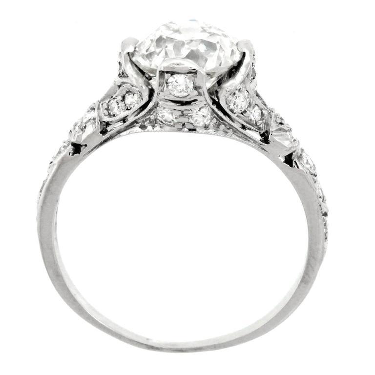 Women's Art Deco 2.03 Carat Diamond-Set Platinum Engagement Ring GIA For Sale