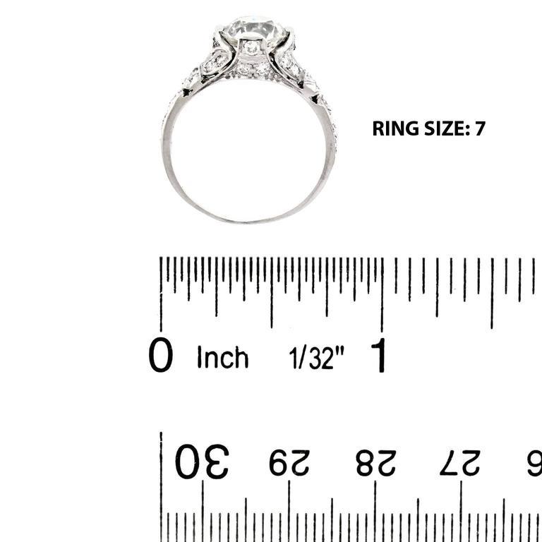 Art Deco 2.03 Carat Diamond-Set Platinum Engagement Ring GIA For Sale 3