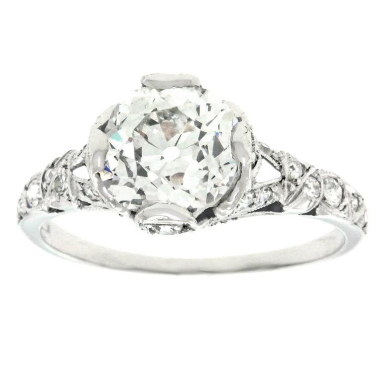 Art Deco 2.03 Carat Diamond-Set Platinum Engagement Ring GIA For Sale
