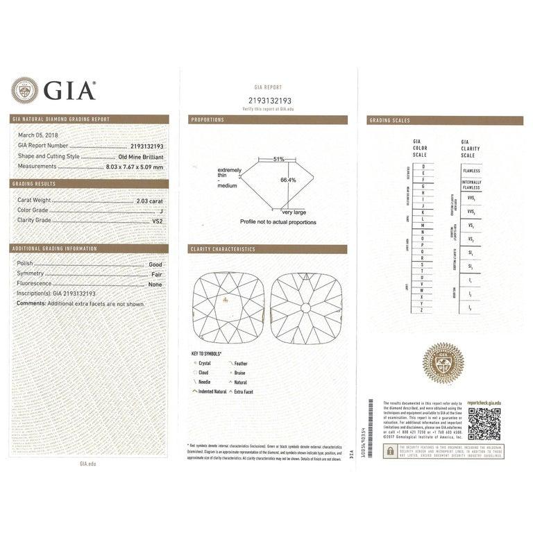 Art Deco 2.03 Carat Diamond-Set Platinum Engagement Ring GIA For Sale 5