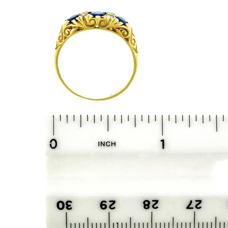Classic Sapphire Diamond Gold Ring 6