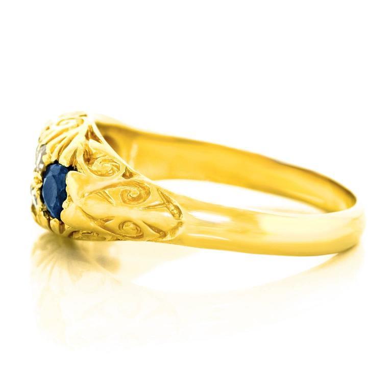 Classic Sapphire Diamond Gold Ring 7