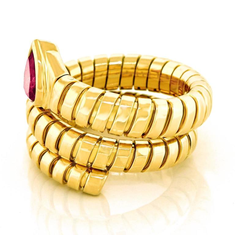 Bulgari Yellow Gold Serpenti Tubogas Ring For Sale 3