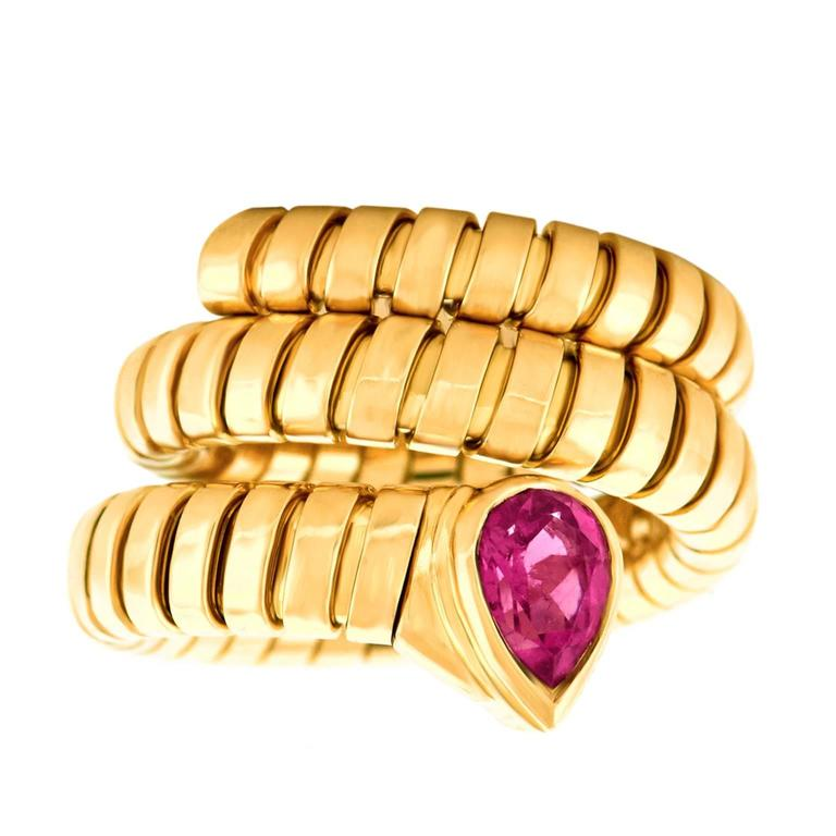 Bulgari Yellow Gold Serpenti Tubogas Ring In Excellent Condition For Sale In Litchfield, CT