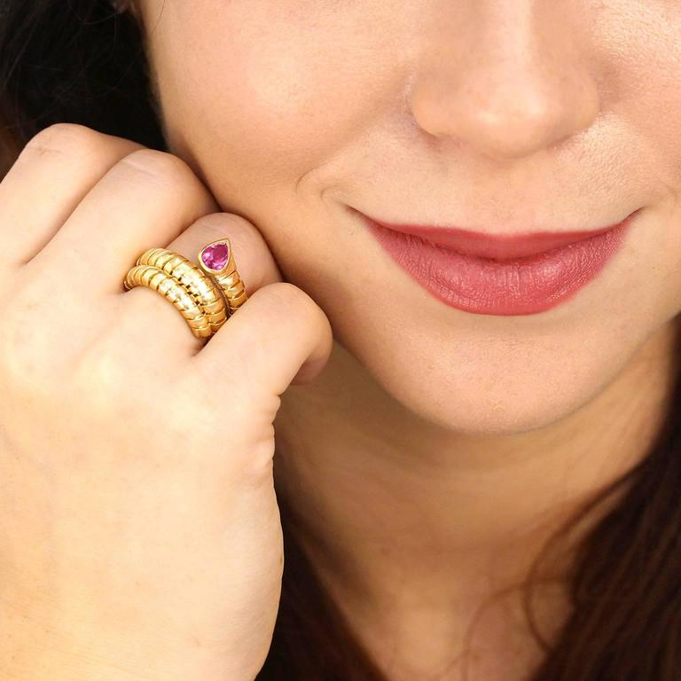 Women's Bulgari Yellow Gold Serpenti Tubogas Ring For Sale