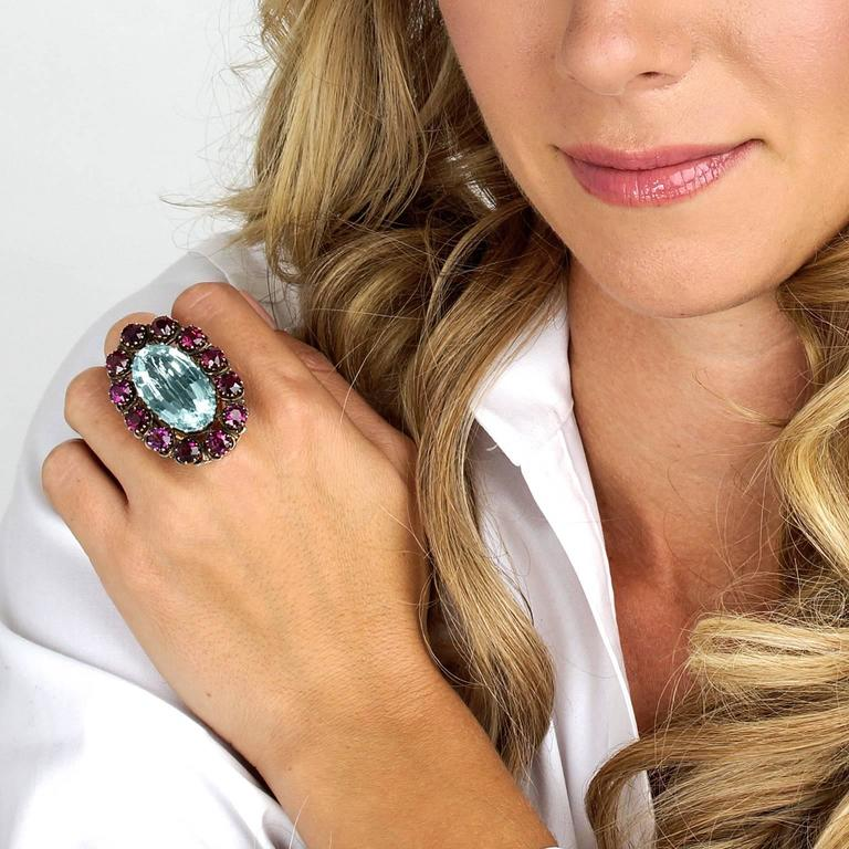 Women's Alchemy Collection Stunning Garnet Aquamarine Bohemian Ring For Sale