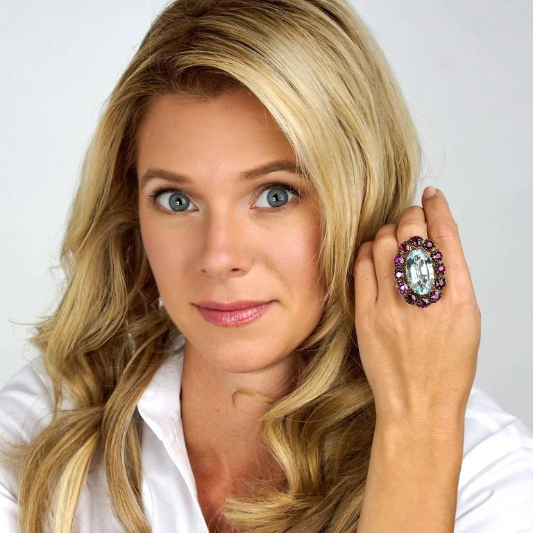 Alchemy Collection Stunning Garnet Aquamarine Bohemian Ring For Sale 5