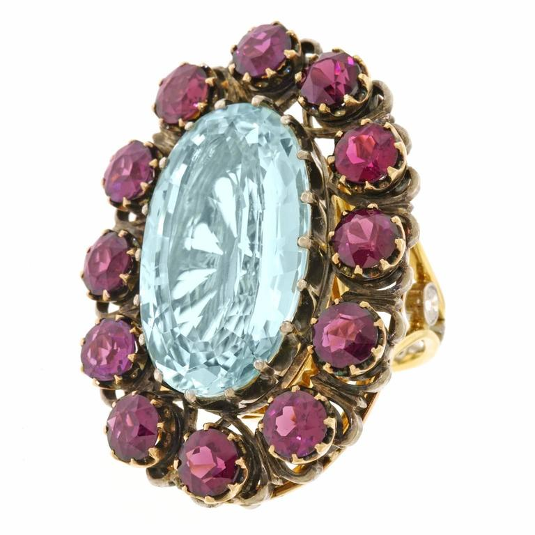 Alchemy Collection Stunning Garnet Aquamarine Bohemian Ring In Excellent Condition For Sale In Litchfield, CT