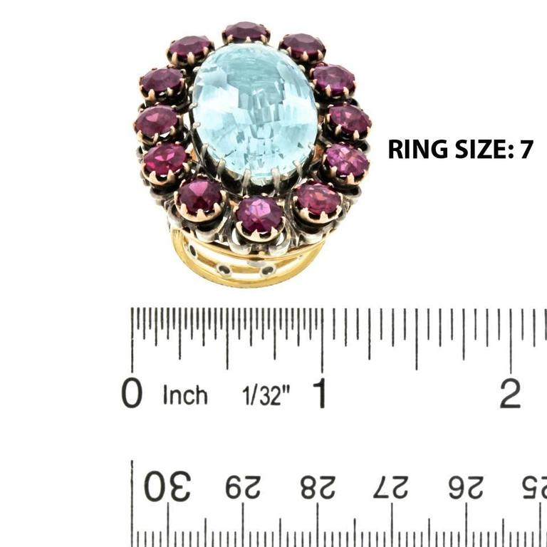 Alchemy Collection Stunning Garnet Aquamarine Bohemian Ring 7
