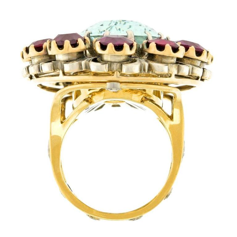 Alchemy Collection Stunning Garnet and Aquamarine Bohemian Ring For Sale 3