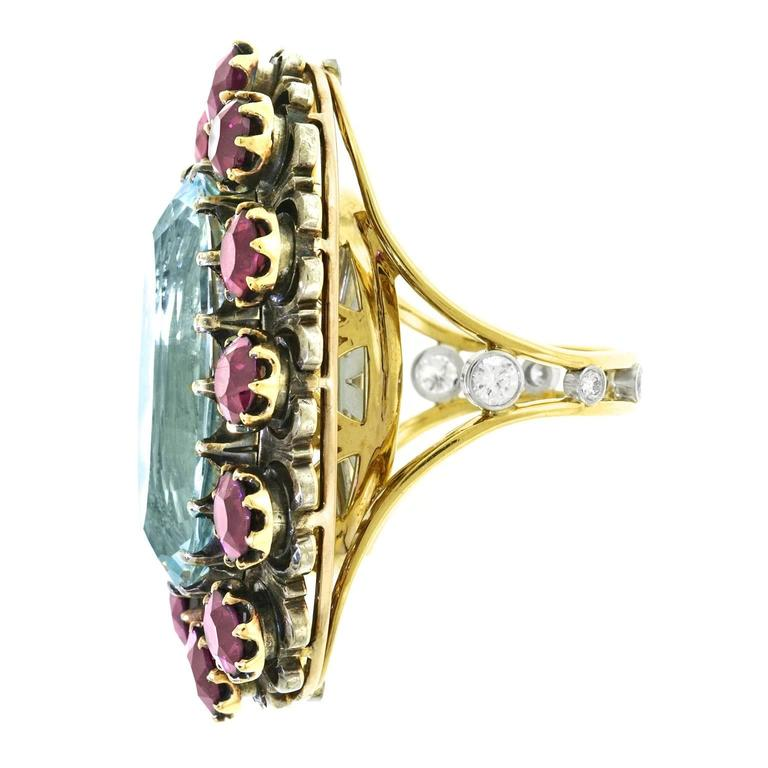 Alchemy Collection Stunning Garnet and Aquamarine Bohemian Ring For Sale 4