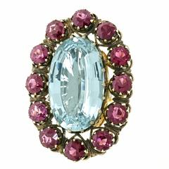 Alchemy Collection Stunning Garnet Aquamarine Bohemian Ring