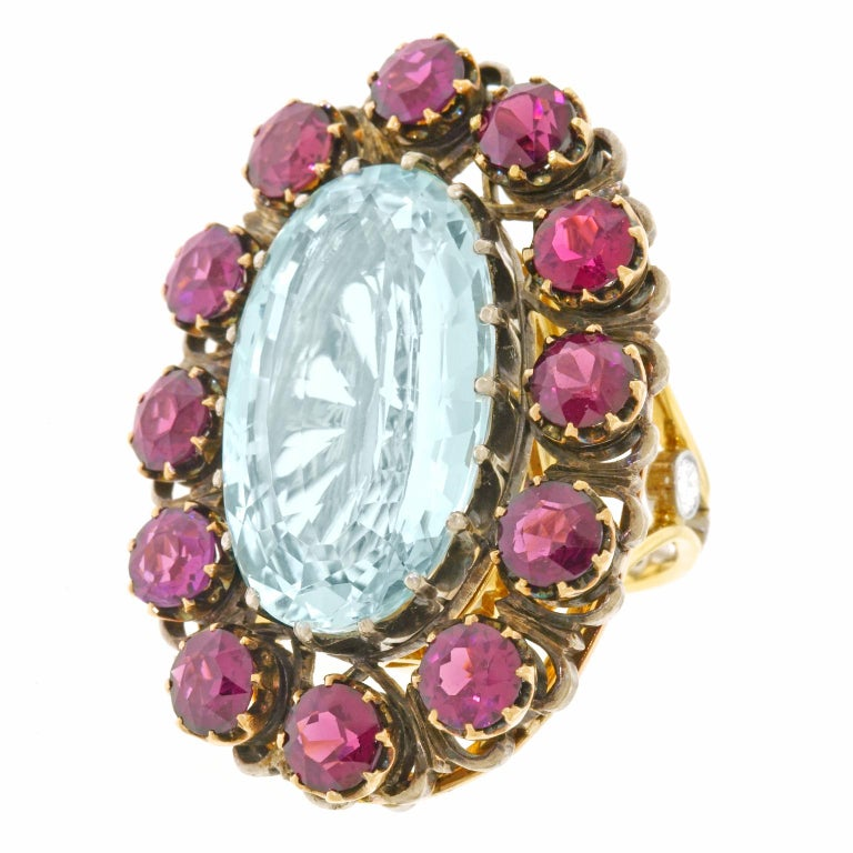 Alchemy Collection Stunning Garnet and Aquamarine Bohemian Ring In Excellent Condition For Sale In Litchfield, CT
