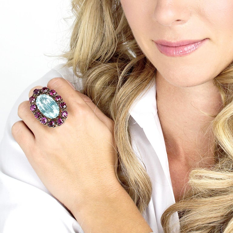 Women's or Men's Alchemy Collection Stunning Garnet and Aquamarine Bohemian Ring For Sale