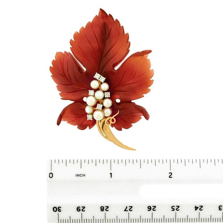Sixties Carnelian Leaf Brooch in Gold 6