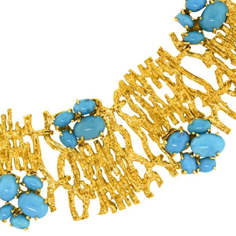 Modernist Persian Turquoise and Gold Necklace For Sale 3
