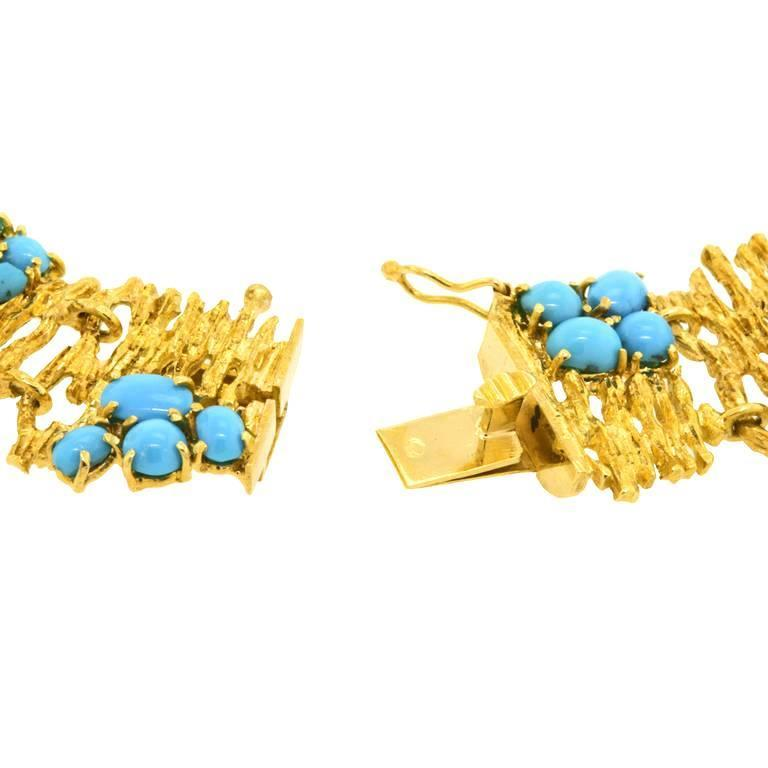 Modernist Persian Turquoise and Gold Necklace For Sale 4