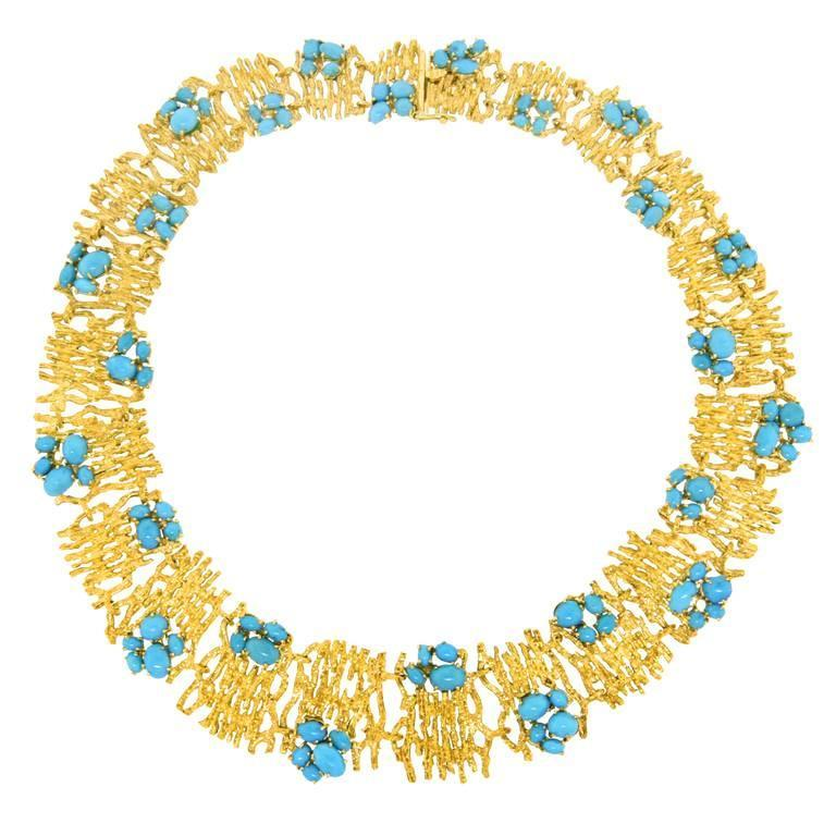 Modernist Persian Turquoise and Gold Necklace For Sale 5