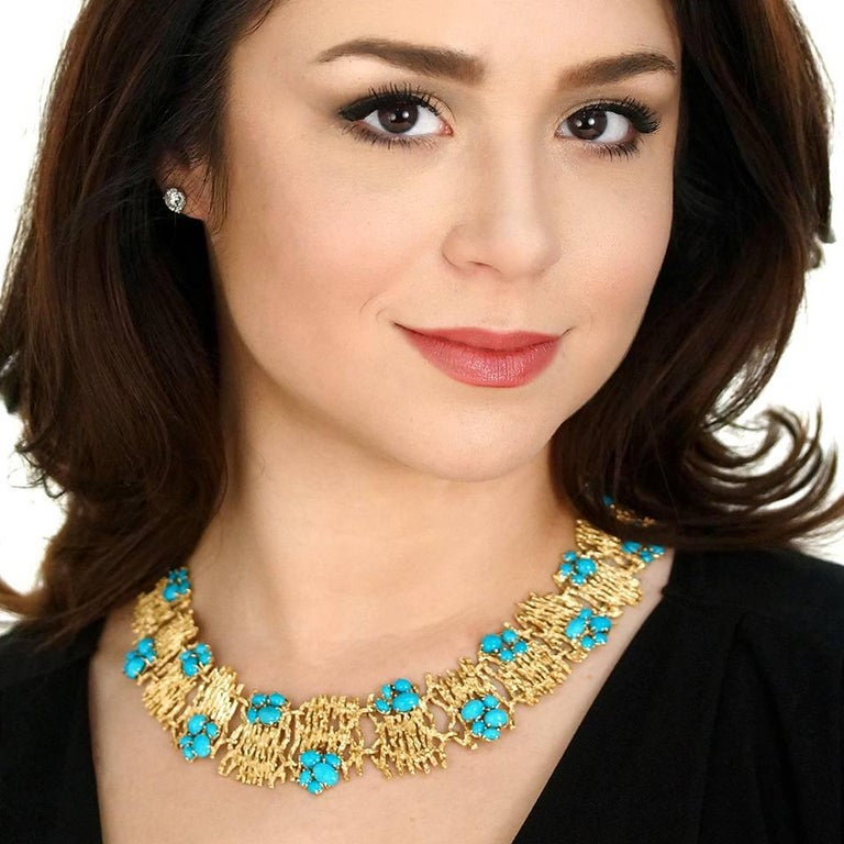 Circa 1960s, 18k, attributed Swiss. From the runway to cocktails, anywhere, anytime, this stunning blue and gold necklace has a chic Modern Art becomes fashion look. Finely fabricated in eighteen-karat yellow gold, it is set with vivid Persian