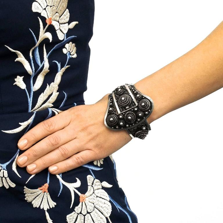 Women's or Men's Fabulous Art Deco French-Indochina Sterling Bracelet For Sale