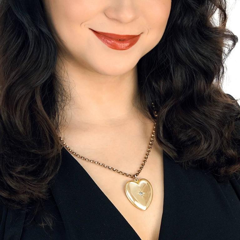 Women's Victorian Diamond Gold Heart Pendant For Sale