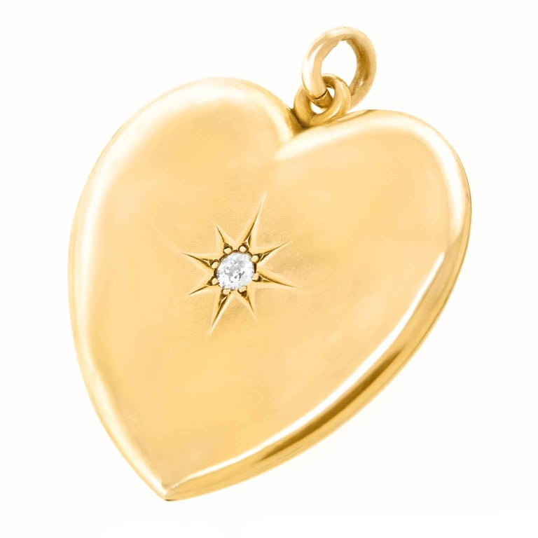 Victorian Diamond Gold Heart Pendant In Excellent Condition For Sale In Litchfield, CT