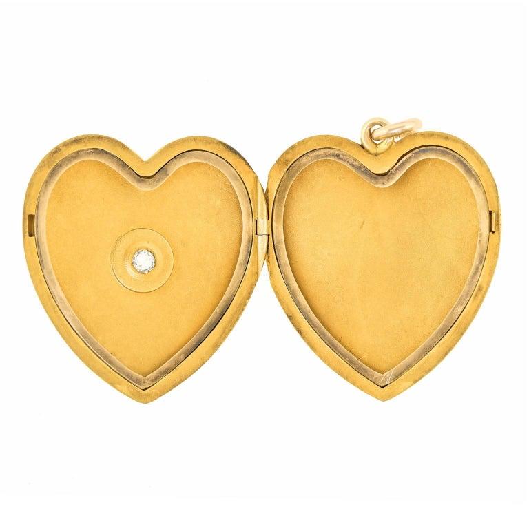 Victorian Diamond Gold Heart Pendant For Sale 1