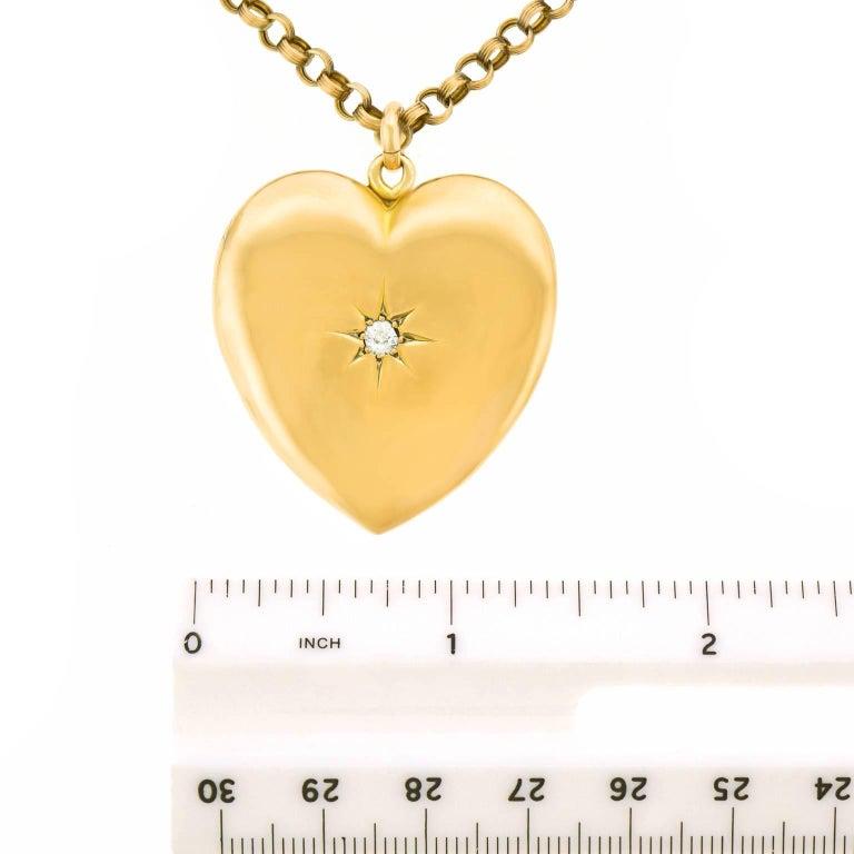 Victorian Diamond Gold Heart Pendant For Sale 2
