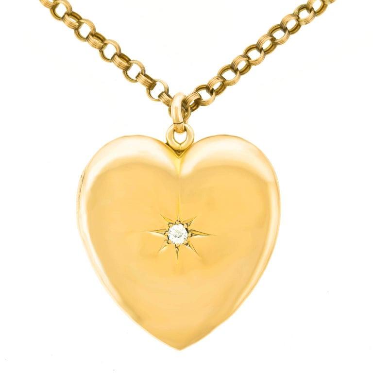 Victorian Diamond Gold Heart Pendant For Sale