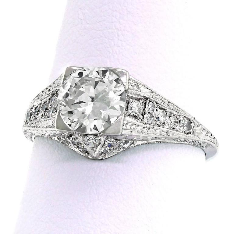 1950s Diamond Platinum Filigree Engagement Ring For Sale at 1stdibs