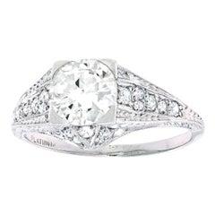Vintage Filigree Diamond and Platinum Engagement Ring