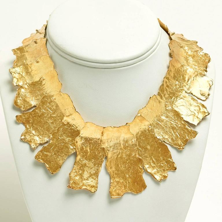 Spectacular Ed Wiener Modernist Gold Necklace In Excellent Condition For Sale In Litchfield, CT
