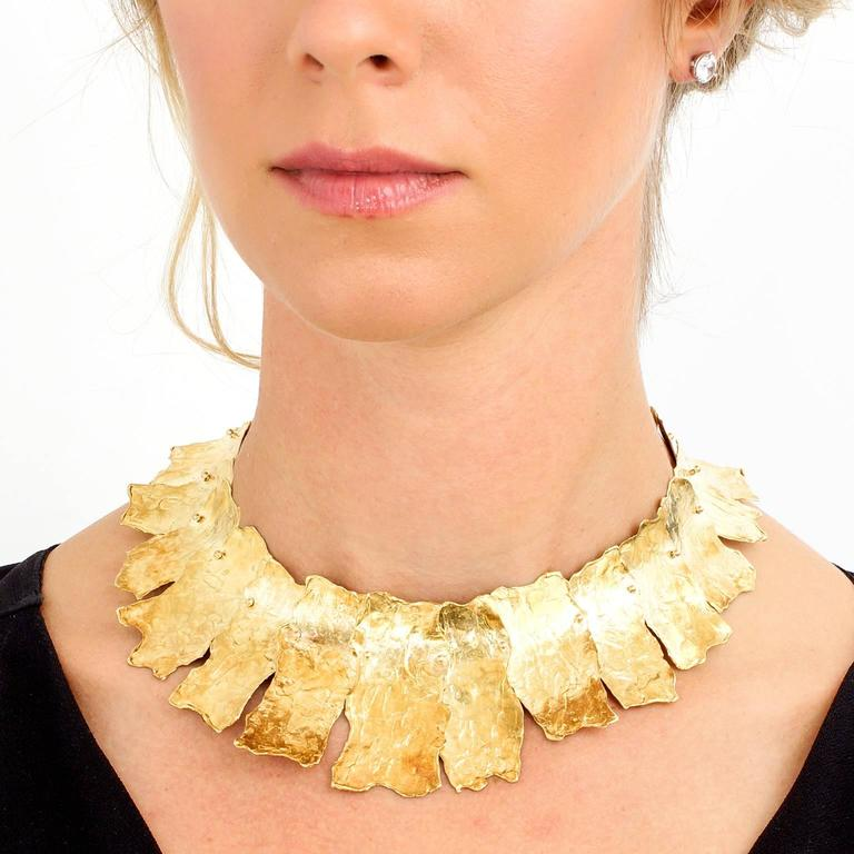 Women's Spectacular Ed Wiener Modernist Gold Necklace For Sale