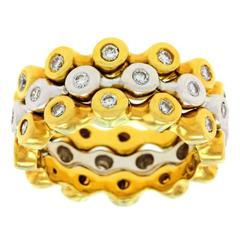 Fabulous Interlocking Contemporary Diamond Gold Stacking Rings