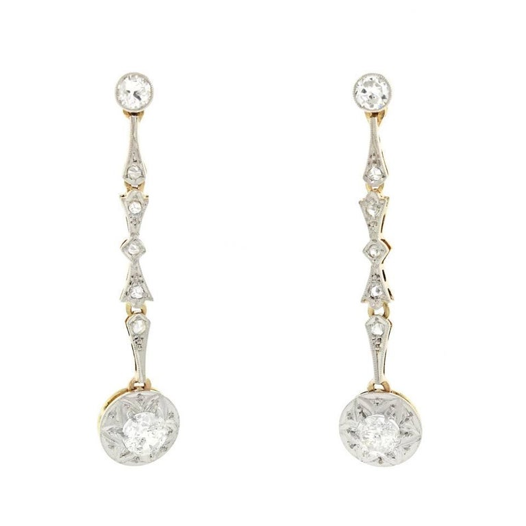 Antique Diamond Set Gold Chandelier Earrings