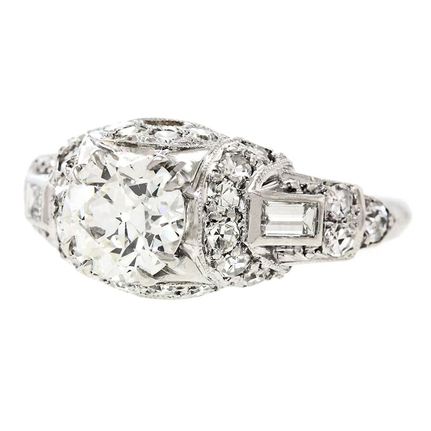 1920s deco platinum engagement ring for sale at 1stdibs