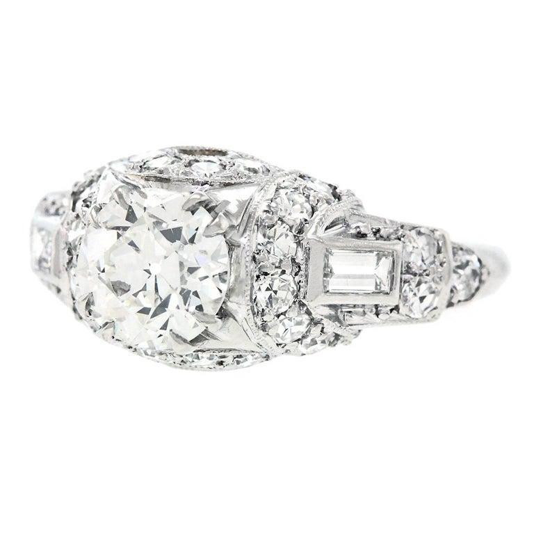 Art Deco Diamond and Platinum Engagement Ring 3