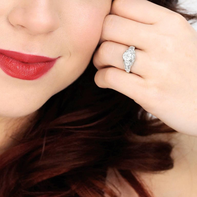 Art Deco Diamond and Platinum Engagement Ring 4