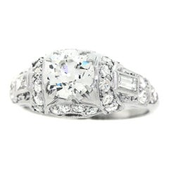 Art Deco Diamond Set Platinum Engagement Ring