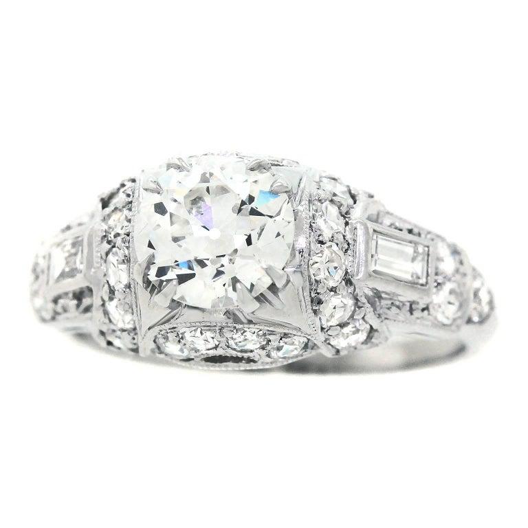 Art Deco Diamond and Platinum Engagement Ring 1