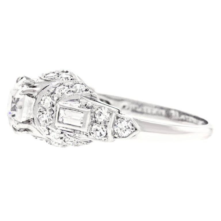 Art Deco Diamond Set Platinum Engagement Ring For Sale 4