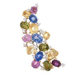 Meister Sapphire Diamond Gold Brooch