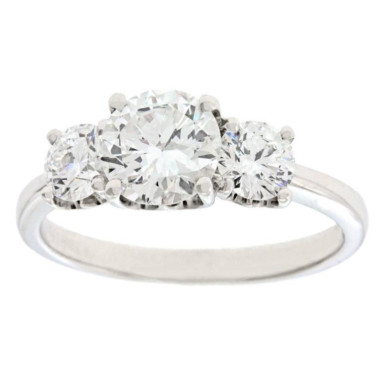 De Beers Three Stone Diamond Set Platinum Ring For
