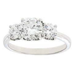 De Beers Three-Stone Diamond-Set Platinum Ring